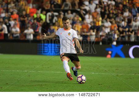 VALENCIA, SPAIN - SEPTEMBER 22nd: Gaya during Spanish soccer league match between Valencia CF and Deportivo Alaves at Mestalla Stadium on September 22, 2016 in Valencia, Spain