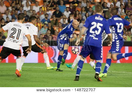 VALENCIA, SPAIN - SEPTEMBER 22nd: Toquero during Spanish soccer league match between Valencia CF and Deportivo Alaves at Mestalla Stadium on September 22, 2016 in Valencia, Spain