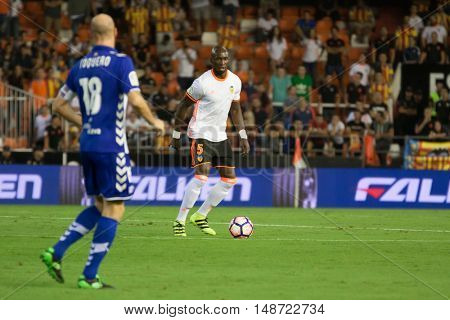 VALENCIA, SPAIN - SEPTEMBER 22nd: Mangala with ball during Spanish soccer league match between Valencia CF and Deportivo Alaves at Mestalla Stadium on September 22, 2016 in Valencia, Spain