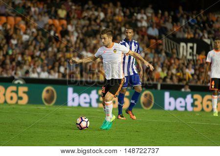 VALENCIA, SPAIN - SEPTEMBER 22nd: Medran during Spanish soccer league match between Valencia CF and Deportivo Alaves at Mestalla Stadium on September 22, 2016 in Valencia, Spain