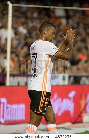 VALENCIA, SPAIN - SEPTEMBER 22nd: Nani during Spanish soccer league match between Valencia CF and Deportivo Alaves at Mestalla Stadium on September 22, 2016 in Valencia, Spain