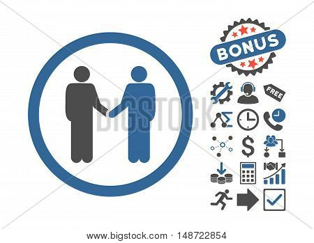 Persons Agreement pictograph with bonus images. Vector illustration style is flat iconic bicolor symbols, cobalt and gray colors, white background.