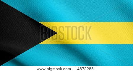 Bahamian national symbol. Patriotic background design. Flag of Bahamas waving in the wind with detailed fabric texture, illustration