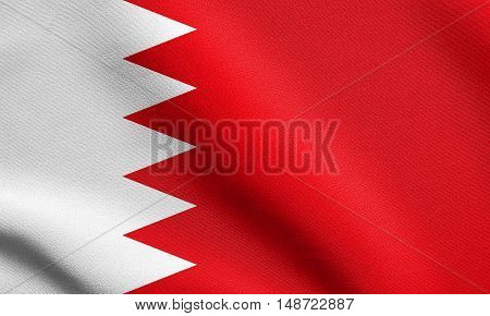 Bahraini national official flag. Patriotic symbol banner element background. Flag of Bahrain waving in the wind with detailed fabric texture, illustration