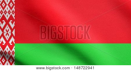 Belarusian national official flag. Patriotic symbol banner element background. Flag of Belarus waving in the wind with detailed fabric texture, illustration