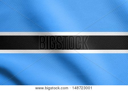 Botswanan national official flag. African patriotic symbol banner element background. Flag of Botswana waving in the wind with detailed fabric texture, illustration