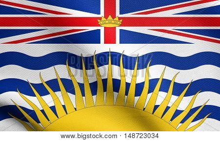 Canadian provincial BC patriotic element and official symbol. Canada banner and background. Flag of the Canadian province of British Columbia waving in the wind with detailed fabric texture, illustration