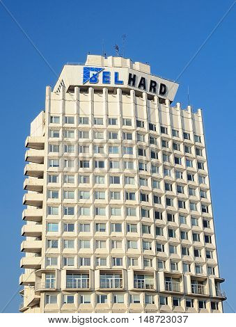 Minsk, Belarus - September 11, 2016: Top of BelHard building