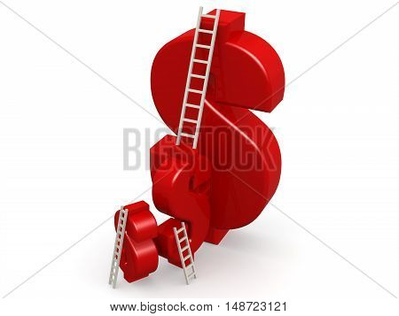 Red Dollar Sign With Ladder