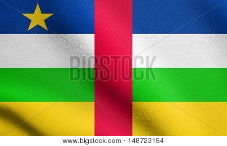 Central Africa national official flag. African patriotic symbol banner element background. Flag of the Central African Republic waving in the wind with detailed fabric texture, illustration
