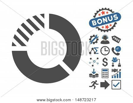 Pie Chart pictograph with bonus elements. Vector illustration style is flat iconic bicolor symbols, cobalt and gray colors, white background.