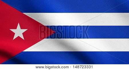 Cuban national official flag. Patriotic symbol banner element background. Flag of Cuba waving in the wind with detailed fabric texture, illustration