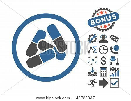 Pills icon with bonus elements. Vector illustration style is flat iconic bicolor symbols, cobalt and gray colors, white background.