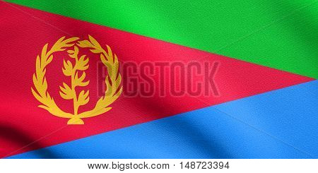 Eritrean national official flag. African patriotic symbol banner element background. Flag of Eritrea waving in the wind with detailed fabric texture, illustration