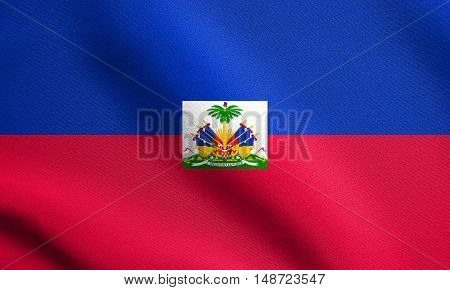 Haitian national official flag. Patriotic symbol banner element background. Flag of Haiti waving in the wind with detailed fabric texture, illustration