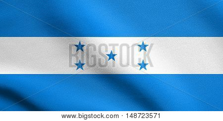 Honduran national official flag. Republic of Honduras patriotic symbol banner element background. Flag of Honduras waving in the wind with detailed fabric texture, illustration