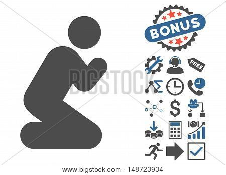 Pray Pose icon with bonus symbols. Vector illustration style is flat iconic bicolor symbols, cobalt and gray colors, white background.