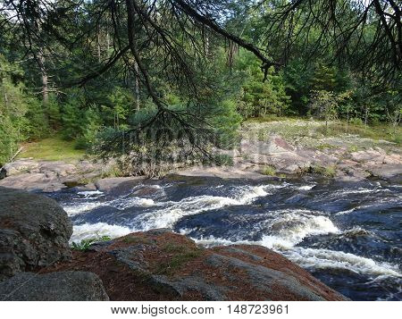 beautiful daytime sunny landscape of fast water with surf moving over rocks as seen from a high boulder with overhanging pine branch on a Wisconsin nature trail