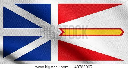 Canadian provincial NL patriotic element and official symbol. Canada banner and background. Flag of the Canadian province of Newfoundland and Labrador waving in the wind with detailed fabric texture, illustration