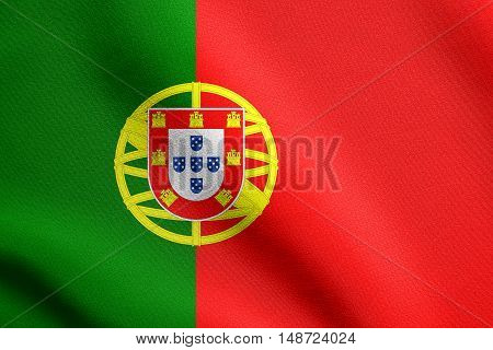 Portuguese national official flag. Patriotic symbol banner element background. Flag of Portugal waving in the wind with detailed fabric texture, illustration