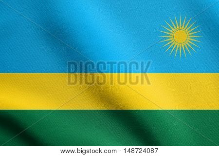 Rwandan national official flag. African patriotic symbol banner element background. Flag of Rwanda waving in the wind with detailed fabric texture, illustration