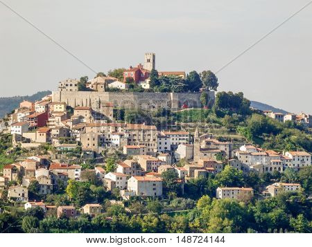 Motovun an historic hill town in the Istrian Peninsula of Croatia.