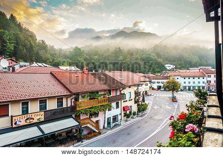 Kobarid Slovenia- September 6 2014 View of Trg Svoboda from balcony.