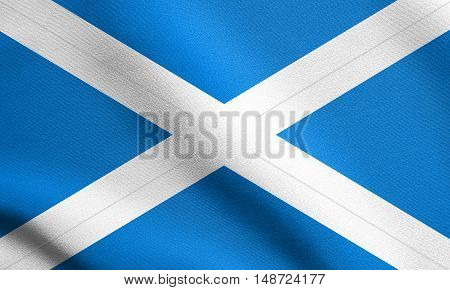 Scottish national official flag. Patriotic symbol banner element background. Flag of Scotland waving in the wind with detailed fabric texture, illustration