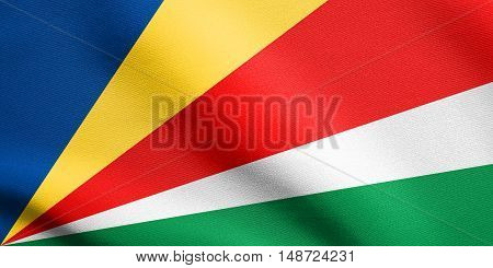 Seychellois national official flag. African patriotic symbol banner element background. Flag of Seychelles waving in the wind with detailed fabric texture, illustration