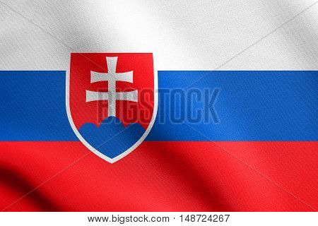 Slovakian national symbol. Patriotic background design. Flag of Slovakia waving in the wind with detailed fabric texture, illustration