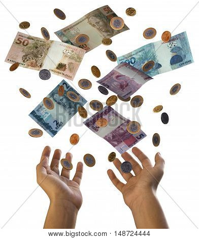 Falling money 3D currency falling brazilian real cash