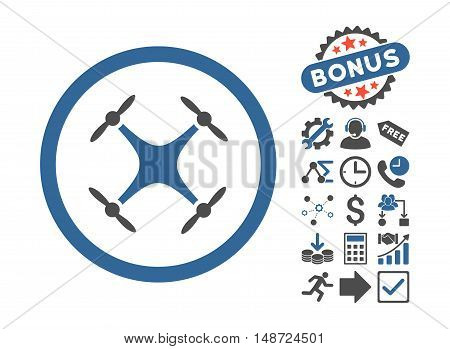 Quadcopter icon with bonus pictures. Vector illustration style is flat iconic bicolor symbols, cobalt and gray colors, white background.
