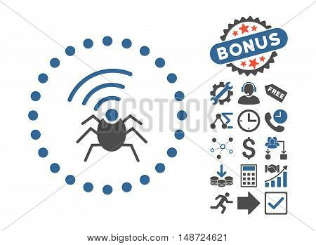Radio Spy Bug pictograph with bonus design elements. Vector illustration style is flat iconic bicolor symbols, cobalt and gray colors, white background.