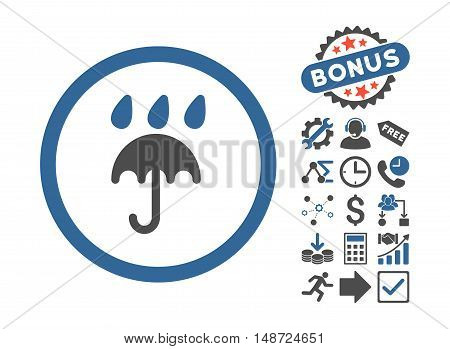 Rain Protection icon with bonus pictograph collection. Vector illustration style is flat iconic bicolor symbols, cobalt and gray colors, white background.