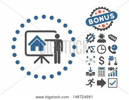 Realtor Presentation icon with bonus pictures. Vector illustration style is flat iconic bicolor symbols, cobalt and gray colors, white background.