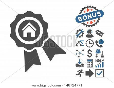 Realty Award pictograph with bonus symbols. Vector illustration style is flat iconic bicolor symbols, cobalt and gray colors, white background.