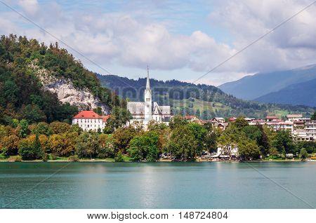 St. Marys Church in Lake Bled Slovenia