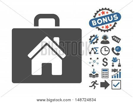 Realty Case pictograph with bonus design elements. Vector illustration style is flat iconic bicolor symbols, cobalt and gray colors, white background.