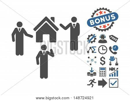 Realty Discuss Persons pictograph with bonus images. Vector illustration style is flat iconic bicolor symbols, cobalt and gray colors, white background.