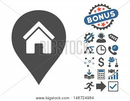 Realty Map Marker icon with bonus symbols. Vector illustration style is flat iconic bicolor symbols, cobalt and gray colors, white background.