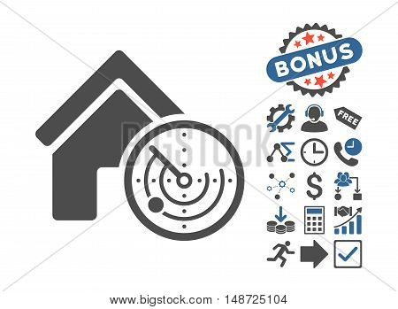 Realty Radar pictograph with bonus pictures. Vector illustration style is flat iconic bicolor symbols, cobalt and gray colors, white background.