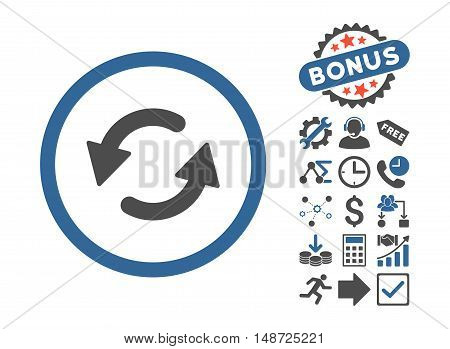 Refresh CCW icon with bonus images. Vector illustration style is flat iconic bicolor symbols, cobalt and gray colors, white background.