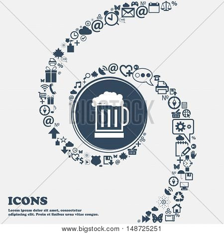 Beer Glass Icon In The Center. Around The Many Beautiful Symbols Twisted In A Spiral. You Can Use Ea