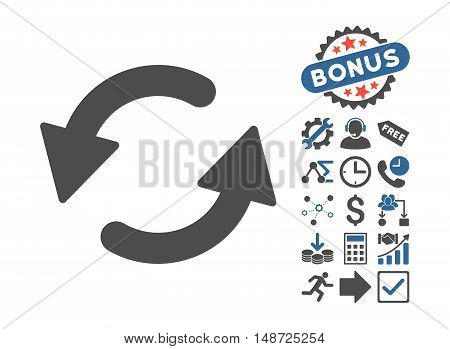 Refresh CCW pictograph with bonus symbols. Vector illustration style is flat iconic bicolor symbols, cobalt and gray colors, white background.