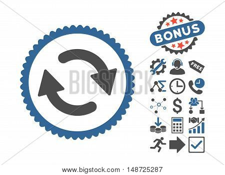 Refresh pictograph with bonus symbols. Vector illustration style is flat iconic bicolor symbols, cobalt and gray colors, white background.
