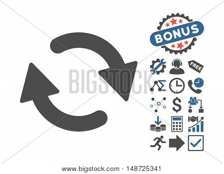 Refresh icon with bonus clip art. Vector illustration style is flat iconic bicolor symbols, cobalt and gray colors, white background.