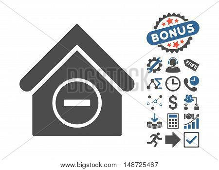 Remove Building icon with bonus elements. Vector illustration style is flat iconic bicolor symbols, cobalt and gray colors, white background.
