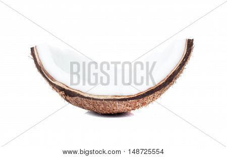 Pieces of coconut shell broken on white background