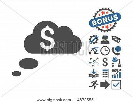Richness Dream Clouds icon with bonus pictures. Vector illustration style is flat iconic bicolor symbols, cobalt and gray colors, white background.