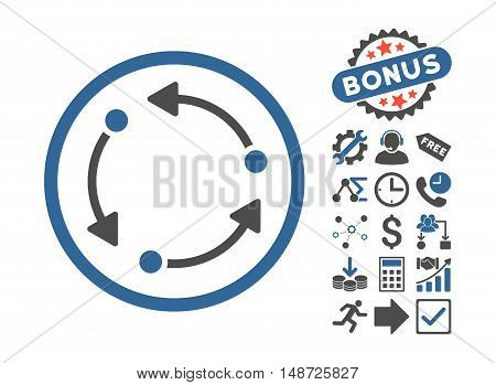 Rotate pictograph with bonus images. Vector illustration style is flat iconic bicolor symbols, cobalt and gray colors, white background.